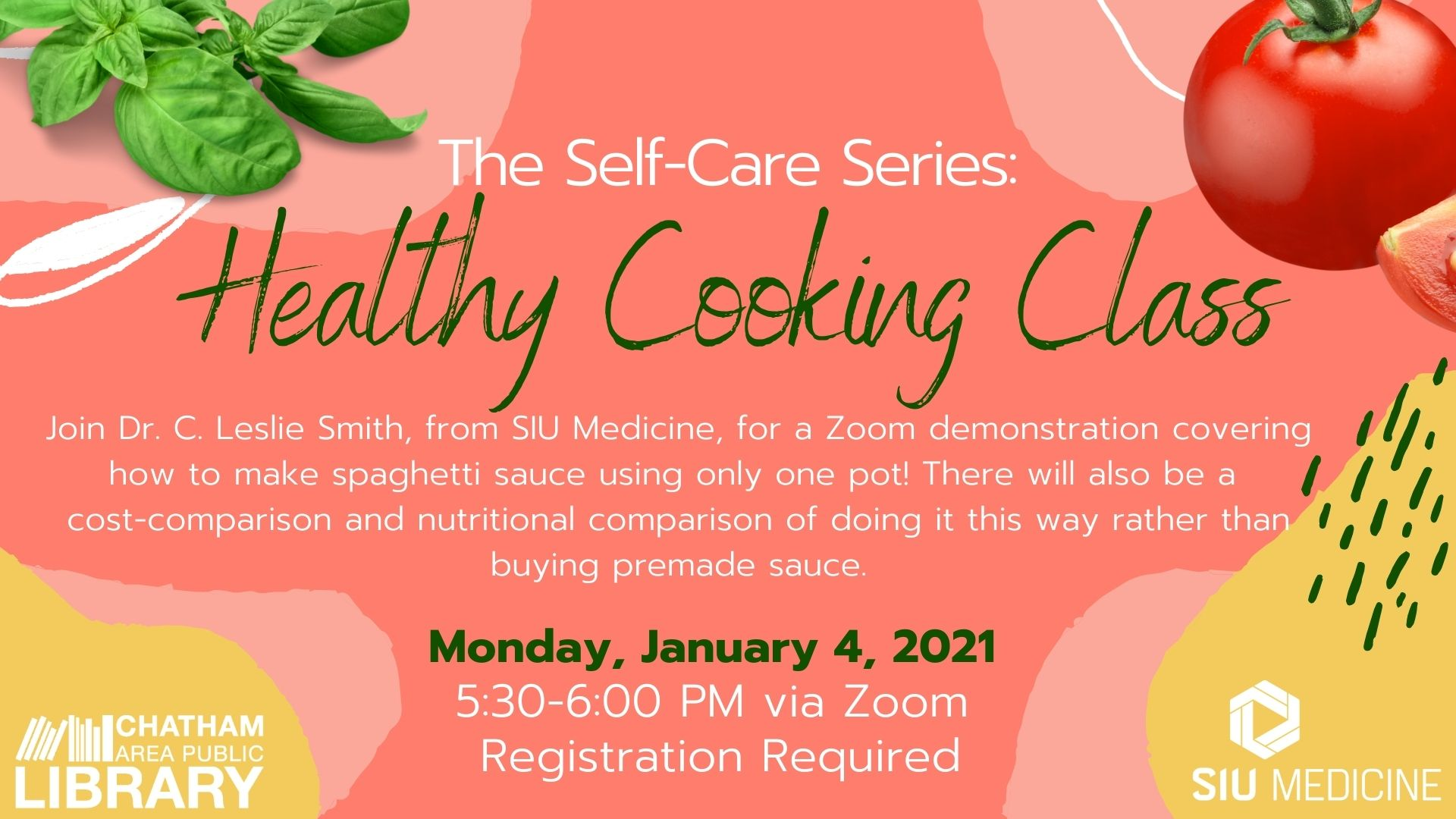 (Virtual) Healthy Cooking Class at the Chatham Area Public Library
