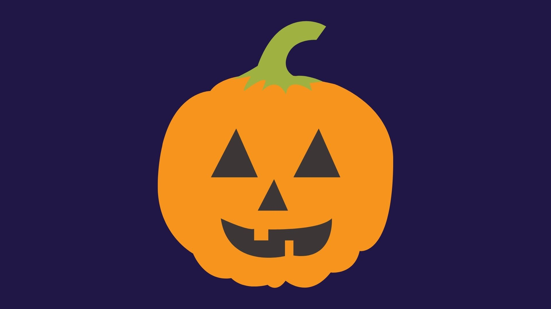 Dark blue background with an illustration of a jack-o-lantern in the foreground