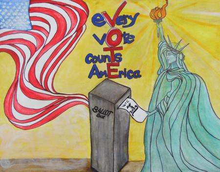 Yellow-background-with-a-drawing-of-the-Statue-of-Liberty-casting-a-ballot.-There-is-an-American-flag-billowing-out-of-the-ballot-box.