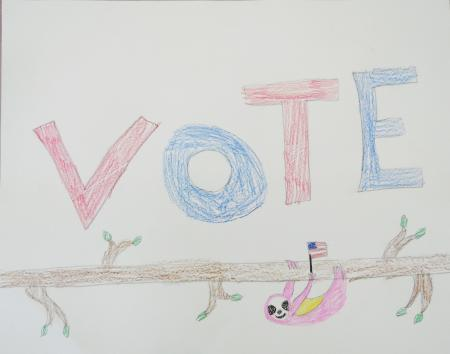 A-drawing-of-a-sloth-hanging-on-a-tree-limb-holding-a-small-American-flag.-The-word-'vote'-is-written-in-red-and-blue-at-the-top-of-the-design.