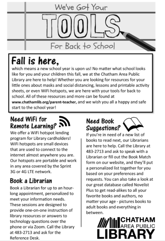 "Front page of our Back to School Newsletter which has the title ""We've Got Your Tools For Back to School"""