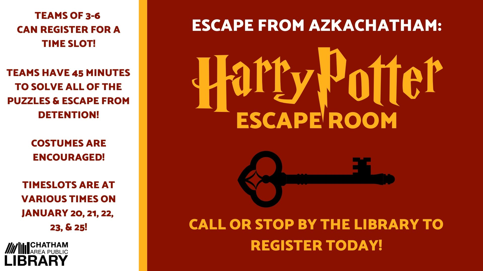Chatham Area Public Library hosts a Harry Potter Escape Room Escape from AzkaChatham